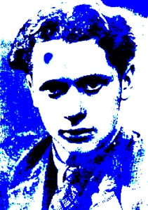 """Dylan Thomas in blue"" digital art by Lidia Chiarelli, Italy"