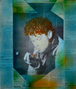 """Dylan, light your fire""  mix media painting by Lidia Chiarelli, Italy"